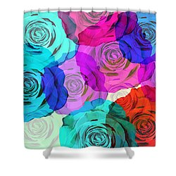 Colorful Roses Design Shower Curtain by Setsiri Silapasuwanchai
