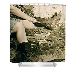 Cowboy Boots Shower Curtain by Joana Kruse