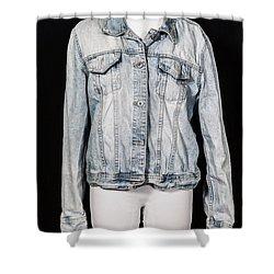 Denim Jacket Shower Curtain by Joana Kruse