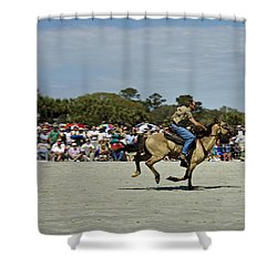 Has A Big Lead Shower Curtain by Phill Doherty