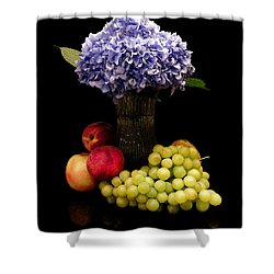 Hydrangea And Fruit Shower Curtain by Sandi OReilly