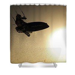 Kitesurfing At Sunset Shower Curtain by Hagai Nativ