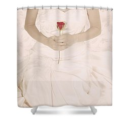 Lady With A Rose Shower Curtain by Joana Kruse
