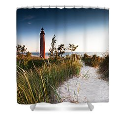 Little Sable Point Light Station Shower Curtain by Larry Carr