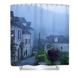 Misty Dawn In Saint Cirq Lapopie Shower Curtain by Brian Jannsen