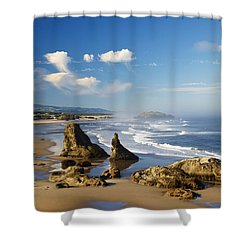 Morning Light Adds Beauty To Rock Shower Curtain by Craig Tuttle