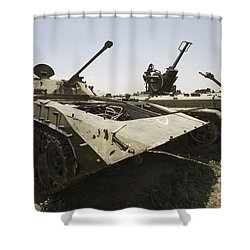 Old Russian Bmp-1 Infantry Fighting Shower Curtain by Terry Moore