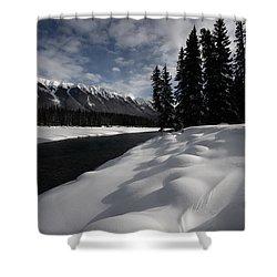 Open Water In Winter Shower Curtain by Mark Duffy