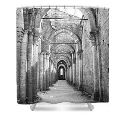San Galgano Abbey Shower Curtain by Ralf Kaiser
