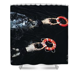 Search And Rescue Swimmers Shower Curtain by Stocktrek Images