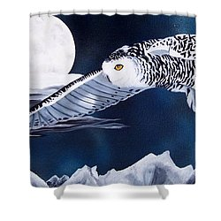 Snowy Flight Shower Curtain by Debbie LaFrance