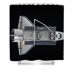 Space Shuttle Atlantis Backdropped Shower Curtain by Stocktrek Images