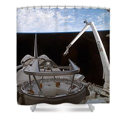 Space Shuttle Discoverys Payload Bay Shower Curtain by Stocktrek Images
