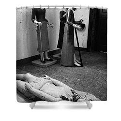 Stripped Saints Shower Curtain by Gaspar Avila