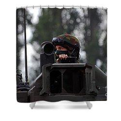 Tank Commander Of A Leopard 1a5 Mbt Shower Curtain by Luc De Jaeger
