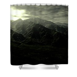 Terragen Render Of Mt. Whitney Shower Curtain by Rhys Taylor