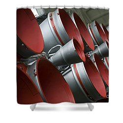 The Boosters Of The Soyuz Tma-14 Shower Curtain by Stocktrek Images