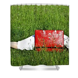 The Red Suitcase Shower Curtain by Joana Kruse