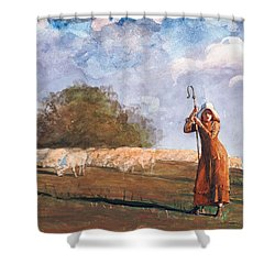 The Young Shepherdess Shower Curtain by Winslow Homer