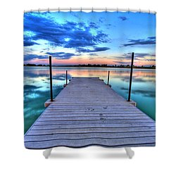 Tranquil Dock Shower Curtain by Scott Mahon