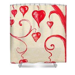 Tree Of Heart Painting On Paper Shower Curtain by Setsiri Silapasuwanchai