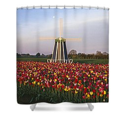 Tulip Field And Windmill Shower Curtain by Natural Selection Craig Tuttle