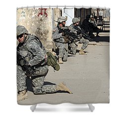 U.s. Army Soldiers Providing Security Shower Curtain by Stocktrek Images