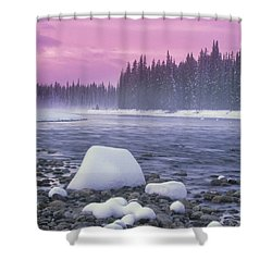 Winter Sunset On Bow River, Banff Shower Curtain by Darwin Wiggett