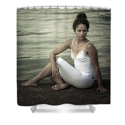 Woman At A Lake Shower Curtain by Joana Kruse