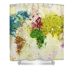 World Map Painting Shower Curtain by Setsiri Silapasuwanchai