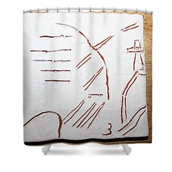 Sign - Tile Shower Curtain by Gloria Ssali
