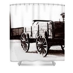 1900 Wagon Shower Curtain by Marcin and Dawid Witukiewicz