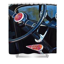 1932 Hot Rod Lincoln V12 Steering Wheel Emblem Shower Curtain by Jill Reger
