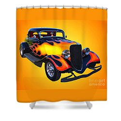 1934 Ford 3 Window Coupe Hotrod Shower Curtain by Jim Carrell