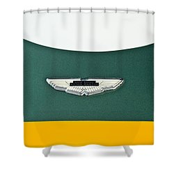 1993 Aston Martin Dbr2 Recreation Hood Emblem Shower Curtain by Jill Reger