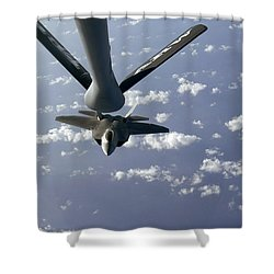 A Three Ship Formation Of F-22 Raptors Shower Curtain by Stocktrek Images