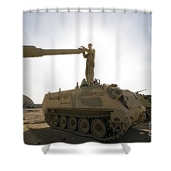 A Us Army Mechanic Uses A M113 Shower Curtain by Terry Moore