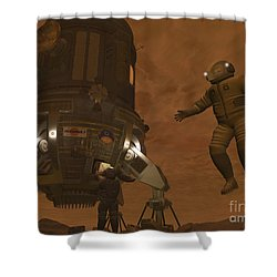 Artists Concept Of Astronauts Exploring Shower Curtain by Walter Myers