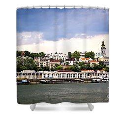 Belgrade Cityscape On Danube Shower Curtain by Elena Elisseeva