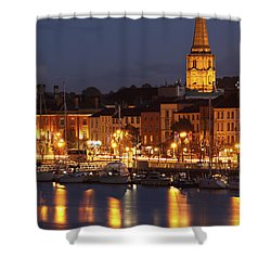 Boats Moored On River Suir At City Shower Curtain by Trish Punch