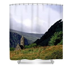 Chapel Of Saint Kevin At Glendalough Shower Curtain by The Irish Image Collection