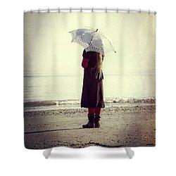 Girl On The Beach With Parasol Shower Curtain by Joana Kruse