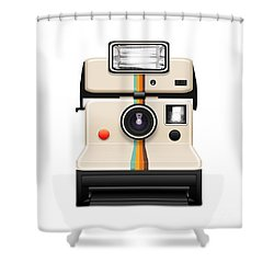 Instant Camera With A Blank Photo Shower Curtain by Setsiri Silapasuwanchai