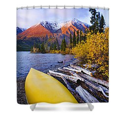 Kathleen Lake And Mountains, Kluane Shower Curtain by Yves Marcoux