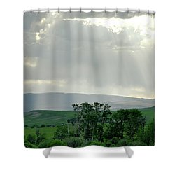 Rain Sun Rays Shower Curtain by Roderick Bley