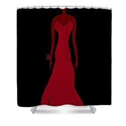 Red Dress Shower Curtain by Frank Tschakert