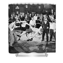 Silent Film Still: Boxing Shower Curtain by Granger