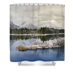 Spillway Lake And The Opal Range, Peter Shower Curtain by Darwin Wiggett