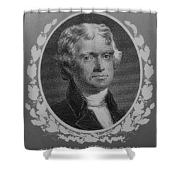 Thomas Jefferson In Black And White Shower Curtain by Rob Hans