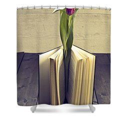 Tulip In A Book Shower Curtain by Joana Kruse